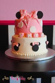 birthday cake baby shower pink minnie mouse disney bow 2 tier
