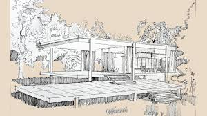 architecture sketch 002 farnsworth house by mies van der rohe