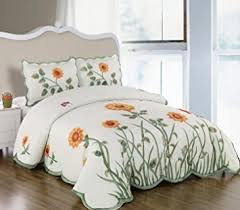 Sunflower Bed Set 3 Pieces 3d White Green And Yellow Sunflower With