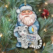 tiger and santa scenic decorative ornament