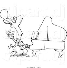 vector of cartoon fancy pianist coloring page outline by