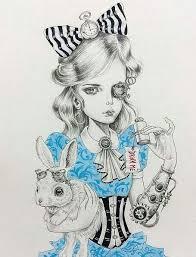 steampunk alice wonderland drawing google tattos