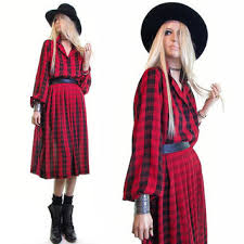 red plaid dress vintage 80s dress scotch from gypsy soul vintage