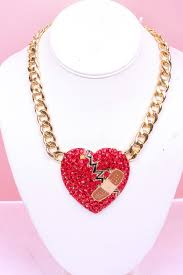 red chain link necklace images Red gold rhinestones heartbroken bandage thick chain link necklace jpg