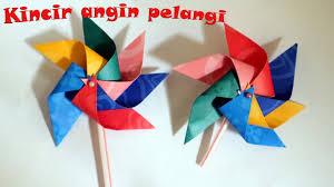 cara membuat origami kincir angin tutorial origami kincir angin pelangi untuk hiasan youtube