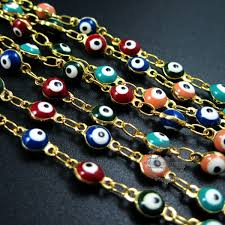 gold plated beads necklace images 2 meters 5mm red pink green blue enameled round turkish evil eye JPG