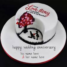 wedding wishes online editing your name on happy wedding beautiful anniversary cake