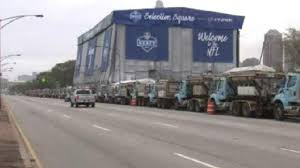 city plants 45 dump trucks outside nfl stage to block attack