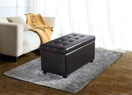 Leather Ottoman Coffee Table Rectangle Storage Ottoman Large Footstool Storage Rectangular Leather