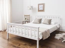 White Frame Bed Bed In White 4 6 Wooden Frame White Ebay