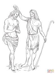 john the baptist baptized jesus coloring page free printable