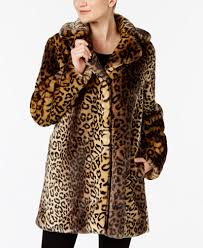 laundry by shelli segal laundry by shelli segal leopard print faux fur coat coats
