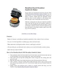 Hamilton Sandwich Maker Beach Breakfast Hamilton Beach Dual