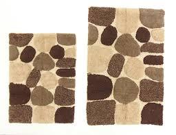 Brown Bathroom Rug by Amazon Com Cotton Craft 2 Piece Bath Rug Set Pebbles Stones