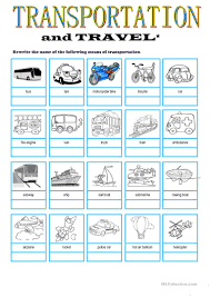 13 free esl transport vocab worksheets