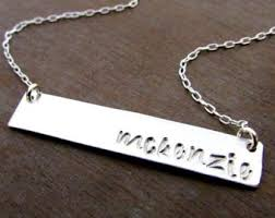 personalized silver bar necklace moon necklace crescent moon necklace sterling silver