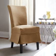 brown fabric dining chair cover with half skirt with slip chair