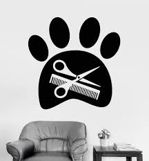 vinyl wall decal beauty salon for pet grooming paw scissors vinyl wall decal beauty salon for pet grooming paw scissors stickers 1221ig