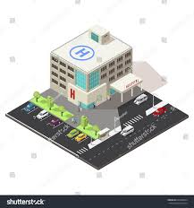 isometric hospital building concept colorful cars stock vector