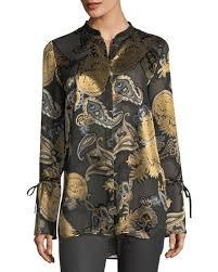 paisley blouse lafayette 148 york desra sleeve renaissance paisley