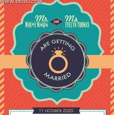 Download Invitation Card Design Vector Colored Retro Wedding Invitation Card Design Templates To