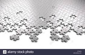 3d rendered metal jigsaw puzzle pieces stock photo royalty free