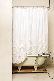 White Ruffled Curtains by Waterfall Ruffle Shower Curtain Anthropologie Curtains And