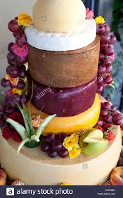 european wedding cake made of different cheeses stock photo