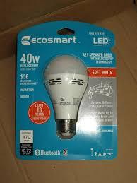 bluetooth light bulb speaker home depot ecosmart 40 watt equivalent a21 non dimmable smart bluetooth speaker