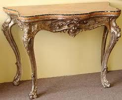 Italian Console Table Italian Rococo Period Silver Leaf Console Table