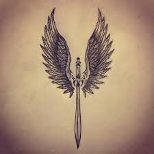 angel wings sword tattoo sketch by ranz pinterest sword