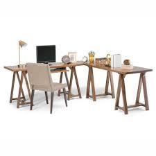 simpli home sawhorse medium saddle brown desk 3axcsaw 10 the