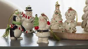lenox set of 5 porcelain ornaments with 24k gold accents boxes