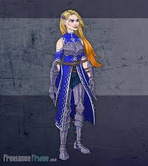 warrior knight woman u2013 character artwork for video game