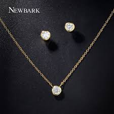 simple diamond set newbark women jewelry set gold color with cubic zircon
