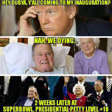 Super Bowl Sunday Meme - the bushes appeared at the super bowl after fake dying on trump bossip