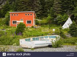 colorful salt box houses at east bauline newfoundland and