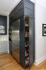1 full doors to a pantry with storage wall w full doors beside