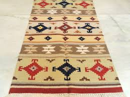Rugs 3x5 3x5 Feet Red Blue Kilim Rug Runner Hand Knotted Hand Discovered