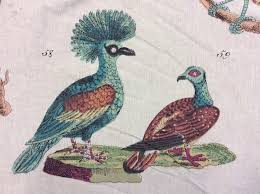 Upholstery Drapery Fabric Dlso100 Illustrated Birds Drapery Fabric Linen Weave Cotton Fabric