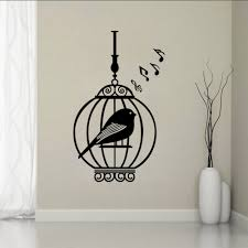 parrot in the cage music home decor creative quote wall decals