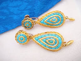 turquoise earrings exquisite antique 18k gold turquoise earrings