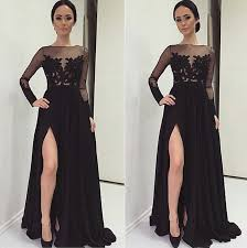black lace prom dress side slit prom dress long sleeve prom