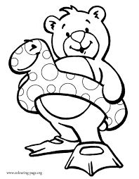 bears bear wearing a snake float and swim fins coloring page
