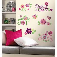 wall decals flowers gardens and landscapings decoration floral wall decals ebay new love joy peace wall decals flowers stickers girls deco flower bedroom decor