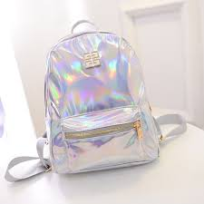 holographic bags 2015 korean pu small leather backpack holographic bag mochila