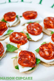 and easy canapes chorizo canapes recipe with mozzarella and rocket