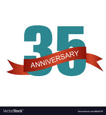 35 year anniversary thirty five 35 years anniversary label sign for vector image