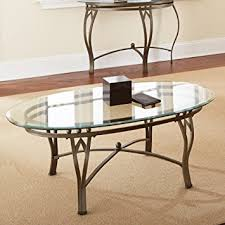 glass top cocktail table amazon com steve silver madrid oval glass top coffee table kitchen