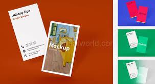 download minimal vertical business card mockup template free